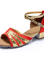 baratos -Mulheres Sapatos de Dança Latina Cetim / Couro Envernizado Sandália / Salto Recortes Salto Grosso Personalizável Sapatos de Dança Vermelho
