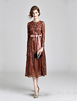 cheap -Women's Elegant Swing Dress - Solid Colored Lace Trims