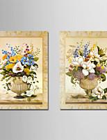 Недорогие -С картинкой Отпечатки на холсте - Цветочные мотивы / ботанический / Урожай Theme Modern
