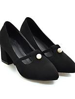 Недорогие -Жен. Обувь Полиуретан Весна Туфли лодочки Обувь на каблуках На толстом каблуке Белый / Черный / Миндальный