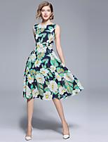 Недорогие -Жен. Уличный стиль А-силуэт Платье - Цветочный принт, С принтом Средней длины