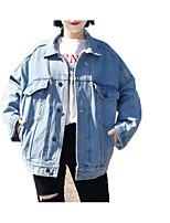 Недорогие -Жен. Джинсовая куртка Уличный стиль - Однотонный