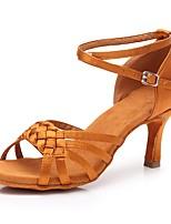 baratos -Mulheres Sapatos de Dança Latina Cetim Salto Salto Alto Magro Personalizável Sapatos de Dança Castanho Escuro