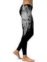 cheap -Women's Sexy Yoga Pants - Black Sports Print Leggings Running, Fitness Activewear Push Up Stretchy