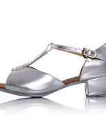 preiswerte -Mädchen Schuhe für den lateinamerikanischen Tanz PU Absätze Kubanischer Absatz Tanzschuhe Silber