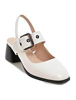 Недорогие -Жен. Обувь Полиуретан Лето Удобная обувь / Туфли лодочки Обувь на каблуках На толстом каблуке Белый / Черный / Миндальный