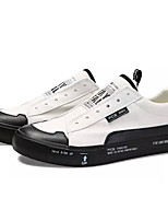 Недорогие -Муж. Полотно / Полиуретан Осень Удобная обувь Кеды Контрастных цветов Белый / Черный