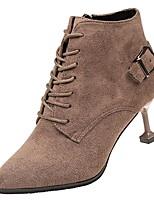 Недорогие -Жен. Полиуретан Осень Ботильоны Ботинки На шпильке Заостренный носок Черный / Коричневый