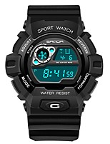 cheap -SANDA Men's Sport Watch Digital Watch Japanese Digital 30 m Water Resistant / Water Proof Calendar / date / day Stopwatch Plastic Band Digital Luxury Fashion Black - Black / Gold Black / Blue Black
