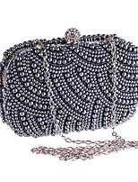 cheap -Women's Bags Polyester / Alloy Evening Bag Crystals / Pearls Floral Print Beige / Gray / Silver