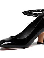 Недорогие -Жен. Мэри Джейн Наппа Leather Осень Обувь на каблуках На толстом каблуке Черный / Винный