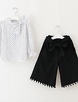 cheap -Kids Girls' Basic Print Long Sleeve Linen Clothing Set