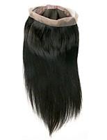 Недорогие -Бразильские волосы 360 Лобовой Прямой Бесплатный Часть Швейцарское кружево Натуральные волосы Универсальные Лучшее качество / 100% девственница / Кружевное закрытие