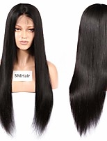 cheap -Remy Human Hair Lace Front Wig Brazilian Hair Silky Straight Wig Middle Part 130% Medium Size / Natural Hairline Black Women's Long Human Hair Lace Wig