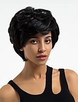 Недорогие -Человеческие волосы без парики Натуральные волосы Волнистый Стрижка под мальчика Природные волосы Темно-черный Без шапочки-основы Парик Жен. Повседневные