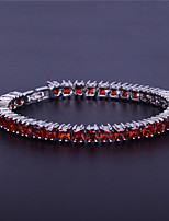 cheap -Men's AAA Cubic Zirconia Single Strand / Rolo Chain Bracelet / Tennis Bracelet - Platinum Plated Creative Simple, Trendy, Hip-Hop Bracelet Black / Red / Blue For Daily / Holiday