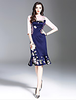 cheap -Women's Sophisticated / Elegant Trumpet / Mermaid Dress - Floral Rose, Embroidered