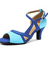 cheap -Women's Latin Shoes Satin Heel Cuban Heel Dance Shoes Blue