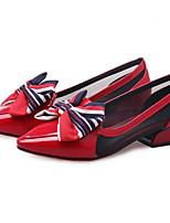 Недорогие -Жен. Полиуретан Лето На каждый день Обувь на каблуках На низком каблуке Черный / Красный
