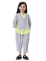cheap -Kids Girls' Active / Basic / Street chic Sports / Beach Patchwork 3/4 Length Sleeve Clothing Set