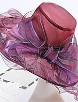 Недорогие -Жен. Винтаж / Праздник Панама / Широкополая шляпа / Шляпа от солнца - Оборки / Сетка Однотонный / Цветочный принт