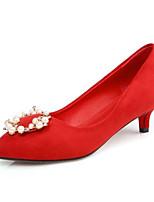 Недорогие -Жен. Обувь Замша Осень Удобная обувь Обувь на каблуках На низком каблуке Черный / Красный