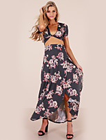 cheap -Women's Cotton Slim Crop Top / Set - Floral / Print, Split Skirt Deep V
