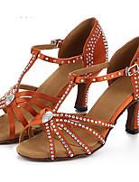 baratos -Mulheres Sapatos de Dança Latina Cetim Salto Salto Alto Magro Sapatos de Dança Marron
