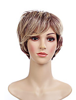 cheap -Synthetic Wig Straight Blonde Short Bob Synthetic Hair 6 inch Women / African American Wig / With Bangs Blonde Wig Women's Short Capless