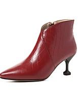 """Недорогие -Жен. Комфортная обувь Наппа Leather Наступила зима Ботинки Каблук """"Клеш"""" Черный / Винный"""
