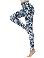 Недорогие -Жен. Сексуальные платья Штаны для йоги - Зеленый Виды спорта Цветочный принт Спандекс Велоспорт Колготки Бег, Фитнес, Для спортивного зала Спортивная одежда Быстровысыхающий, Дышащий, Удобный