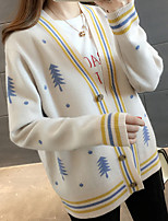 cheap -women's going out long sleeve cardigan - striped v neck