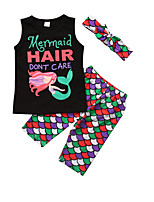 cheap -Kids Girls' Solid Colored / Polka Dot / Geometric Sleeveless Clothing Set
