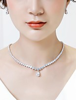 cheap -Women's Cubic Zirconia Stylish Jewelry Set - Drop Vintage, Fashion Include Drop Earrings / Pendant Necklace White For Wedding / Evening Party