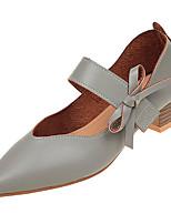 Недорогие -Жен. Полиуретан Лето Милая Обувь на каблуках На толстом каблуке Заостренный носок Бант Черный / Бежевый / Зеленый