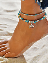 cheap -Turquoise Layered Beads Ankle Bracelet - Resin Elephant, Starfish Vintage, Casual / Sporty, Ethnic Blue For Daily Street Going out Women's