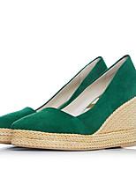 Недорогие -Жен. Обувь Замша Осень Туфли лодочки Обувь на каблуках Туфли на танкетке Черный / Оранжевый / Зеленый