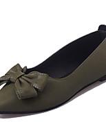 Недорогие -Жен. Обувь Полиуретан Лето Удобная обувь На плокой подошве На плоской подошве Заостренный носок Бант Черный / Коричневый / Зеленый