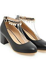 Недорогие -Жен. Комфортная обувь Полиуретан Весна Обувь на каблуках На толстом каблуке Черный / Бежевый / Розовый