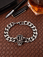 cheap -Men's Cuban Link Bracelet - Titanium Steel Skull Simple, Basic, Trendy Bracelet Black For Street / Going out