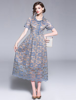 cheap -Women's Vintage / Sophisticated A Line Dress - Solid Colored Lace / Patchwork