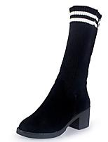 Недорогие -Жен. Fashion Boots Полиуретан / Эластичная ткань Осень Минимализм Ботинки На толстом каблуке Круглый носок Сапоги до середины икры Черный / Полоски