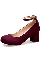 Недорогие -Жен. Комфортная обувь Замша Весна Обувь на каблуках На толстом каблуке Черный / Серый / Винный
