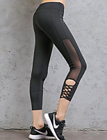 cheap -Women's Cut Out / Criss-Cross Yoga Pants - Black Sports Solid Color 3/4 Tights Running, Fitness, Gym Activewear Quick Dry, Breathable, Compression Micro-elastic