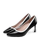 Недорогие -Жен. Балетки Наппа Leather Весна Обувь на каблуках На шпильке Белый / Черный