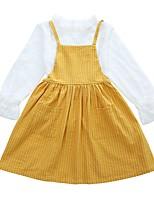 Недорогие -Дети Девочки Классический Школа Однотонный / Полоски Длинный рукав Хлопок Набор одежды