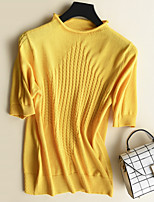 cheap -women's going out short sleeve slim pullover - solid colored crew neck