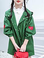 cheap -Kids Girls' Basic Geometric Long Sleeve Trench Coat