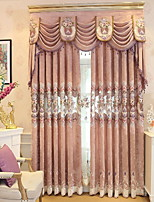 cheap -Curtains Drapes Living Room Floral / Geometric Polyester Embroidery