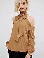 abordables -Tee-shirt Femme, Couleur Pleine Découpé Basique